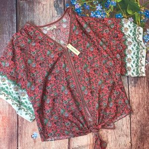 Max Studio NWT Red Floral Top Kimono Sleeves Large
